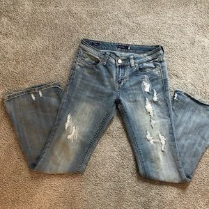 Vigoss Factory Distressed Flare Jeans-7